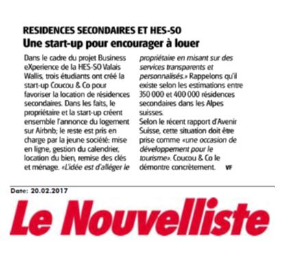 Article du Nouvelliste sur Coucou&Co
